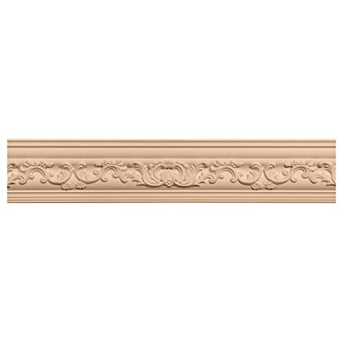 Ekena Millwork MLD04X04X06MEMA 4 3/4-Inch H x 4 7/8-Inch P x 6 3/4-Inch F x 96-Inch L Medway Carved Wood Crown Moulding, Maple (Crown Moulding Maple)
