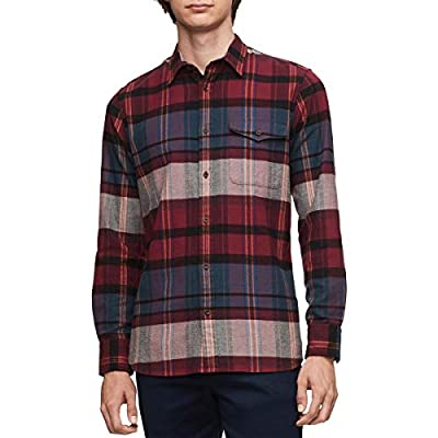 Calvin Klein Mens Plaid Mixed Media Button-Down Shirt