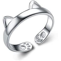Helen de Lete Innovative Cat Lovey Kitty Paw Sterling Silver Open Ring