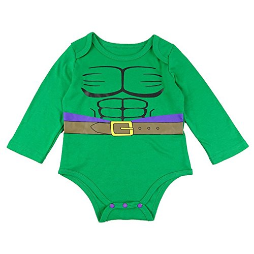 BapUp Baby Long Sleeves Bodysuits Boys Girls Funny Superhero Oneise (Hulk, (Baby Hulk Infant/toddler Costume)