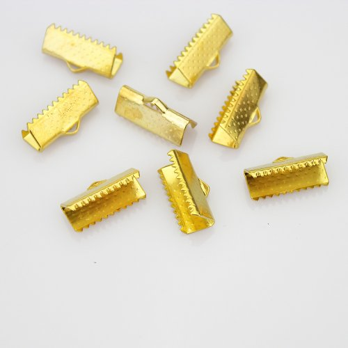 LolliBeads (TM) 15 mm Gold Plated Brass Ribbon Bracelet Bookmark Leather Pinch Crimps End Findings (50 Pcs)