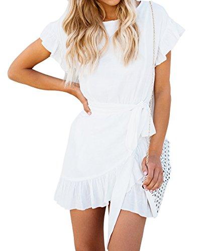 - Huiyuzhi Womens Short Sleeve Round Neck Ruffles Wrap Dresses Summer Party Dress