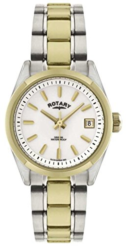 Rotary Women's Quartz Watch with White Dial Analogue Display and Multi-Colour Stainless Steel Coating Bracelet LB02661/11