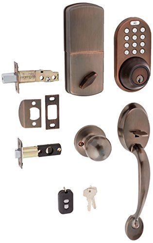 MiLocks BXF-02OB Digital Deadbolt Door Lock and Passage Handleset Combo with Keyless Entry via Remote Control and Keypad Code for Exterior Doors, Oil Rubbed Bronze MiProducts Corporation