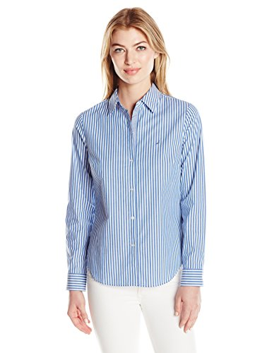 Nautica Women's Long Striped Stretch Shirt with Chambray Trim Sleeve, Lapis Tide, Medium (Nautica Drapes)