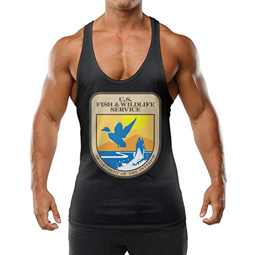 United States Fish and Wildlife Service Teenager Muscle Sleeveless Fancy Stringer Bodybuilding Gym Tank-Top Fitness Vest