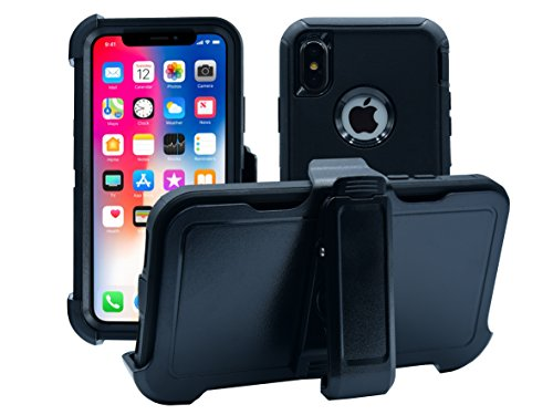 iPhone X | Holster Case | Full Body Military Grade Edge-to-Edge Protection with carrying belt clip | Drop Proof Shockproof Dustproof Cover | Black / Black