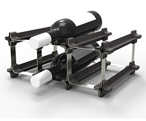 3 NOOK Wine Rack - Easy 2 Step Assembly - No Hardware Required - Capacity: 6 (Three Bottle Wine Rack)