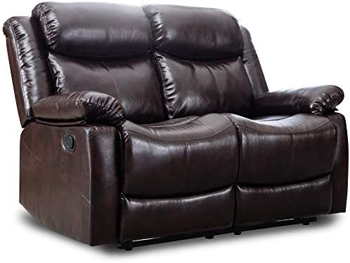 Harper Bright Designs Loveseat Recliner Manual Reclining Sofa Seat Classic Recliner Brown Leather Couch Sofa Set for Living Room