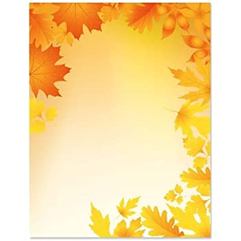 amazon com autumn leaves border stationery 80 sheets office