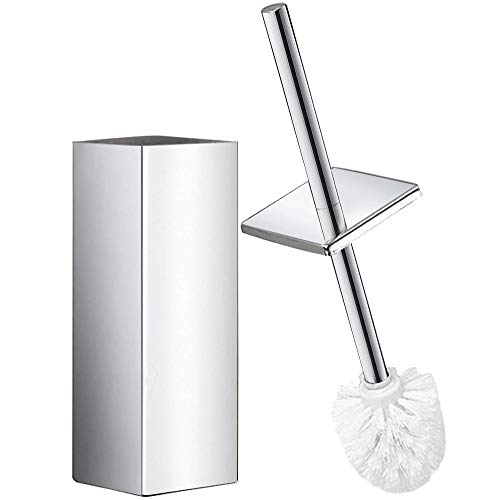 DOWRY Polished Stainless Steel Toilet Brush and Holder Square, Longer Handle Enlarged Bottom Toilet Bowl Cleaner Brush Set for Bathroom Toilet Chrome Finished,Pack of 1, SS202-2