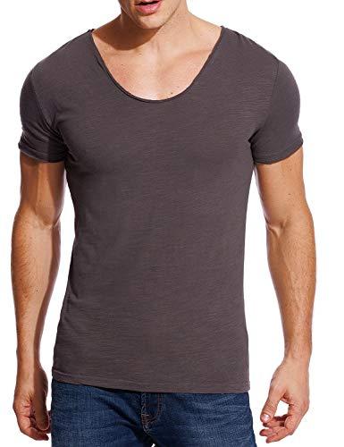 Zecmos V Neck T Shirts Mens Scoop Neck Short Sleeve Slim Fit Basic Tee Casual Grey XXXL