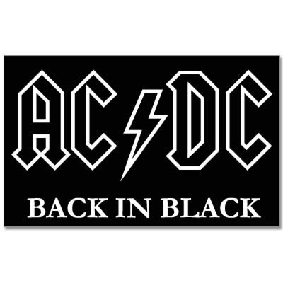 "ACDC AC DC Back in Black vynil car sticker 4"" x 6"""