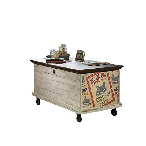 Sauder Eden Rue Rolling Chest, White Plank finish (Coffee Storage Table With Mahogany)