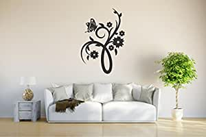 Etiqueta de la pared d202 lindo mariposa Enredadera planta