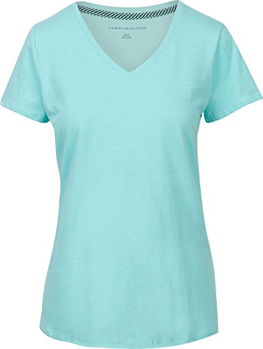 Tommy Hilfiger Womens V-Neck Solid Color Logo T-Shirt - L - Mint