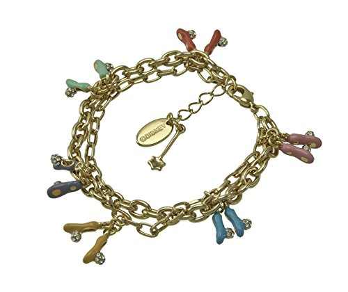 Disney Couture Tinker Bell Crystal Slippers Charm Bracelet - Gold Plated