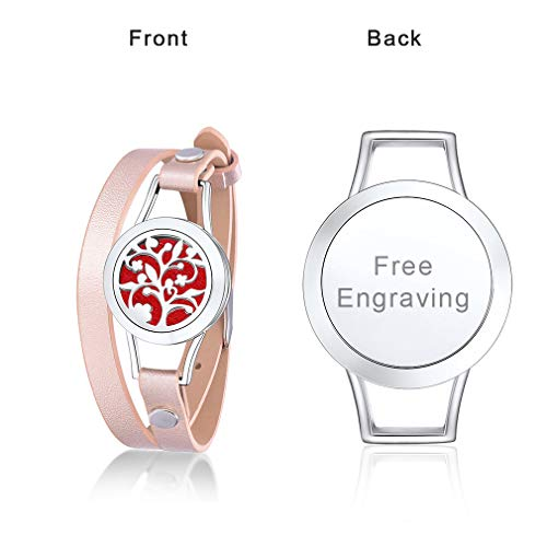 - Supcare Personalized Locket Bracelet Stainless Steel for Aromatherapy Essential Oil Diffuser, Custom Engraved Deciduous Tree Pattern Locket Bracelet with Pink Leather Band, Unqiue Jewelry Gift for Her