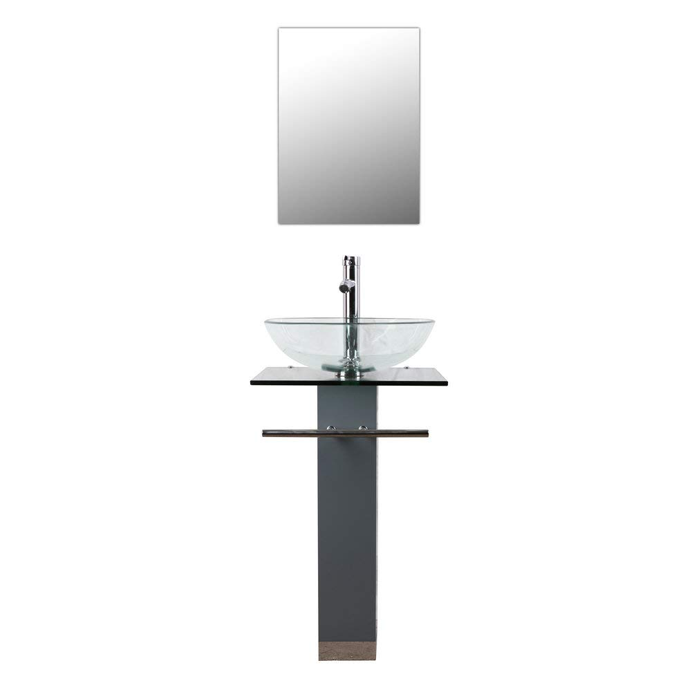 Bathenum 34 Height Glass Pedestal Sink with Chrome Faucet Drain and Towel Bar Mirror Bathroom Vanity Unit