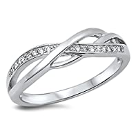 Infinity Knot White CZ Promise Ring New .925 Sterling Silver Band Sizes 4-14