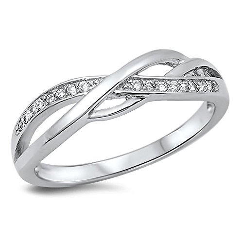 Infinity Knot White CZ Promise Ring New .925 Sterling Silver Band Size 13 (RNG14507-13)