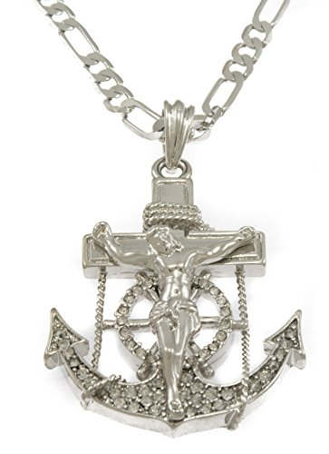 Hot New Silver Tone Crucifix Anchor Cross Men's Pendant with Free 24