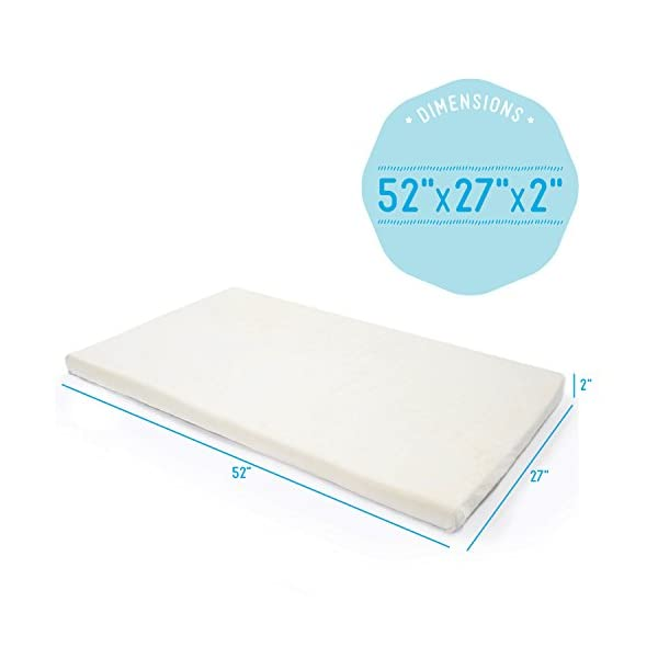 "Milliard 2-Inch Ventilated Memory Foam Crib/Toddler Bed Mattress Topper with Removable Waterproof 65-Percent Cotton Non-Slip Cover - 51.5"" x 27"" x 2"" 3"