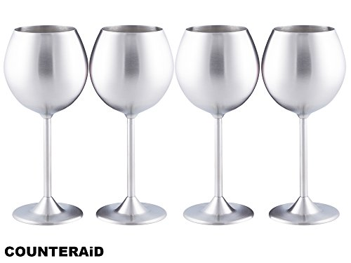 Counter Aid Stainless Steel Wine Glasses - Set of 4 Long Stem Unbreakable and ShatterProof Cocktail and Beverage Cups For Camping, BBQs & Picnics - 12oz