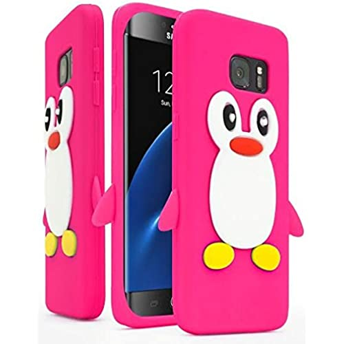 Samsung Galaxy S7 Edge Case ,Bastex Flexible Rubber Protective Pink & White Silicone Penguin Character Case Cover Sales