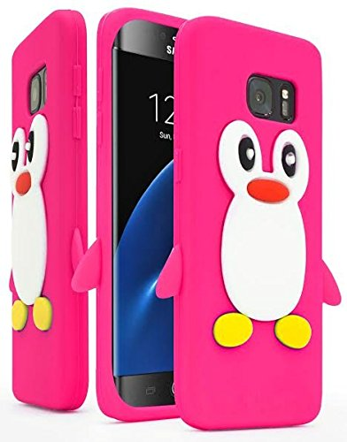 huge discount ab871 e1bf5 Samsung Galaxy S7 Edge Case ,Bastex Flexible Rubber Protective Pink & White  Silicone Penguin Character Case Cover for Samsung Galaxy S7 Edge