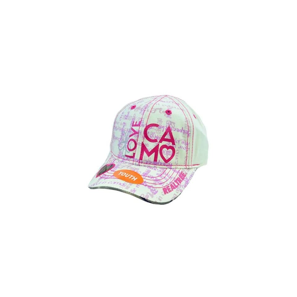 Team Realtree Youth Kids Girls Heart Camo White Glitter Pink Purple Love Hat Cap