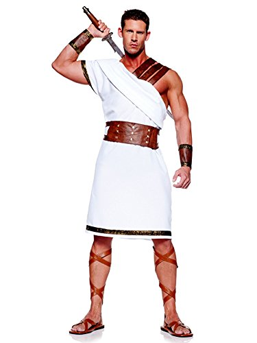 Pizazz! Men's Adult Roman Punisher Costume, White/Gold/Brown,