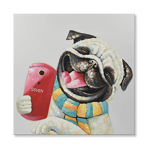 SEVEN WALL ARTS - Modern Hand Painted Animal Painting Funny Dog Art Cute Pug Dog Taking Selfie with Stretched Frame for Home Decor 24 x 24 Inch