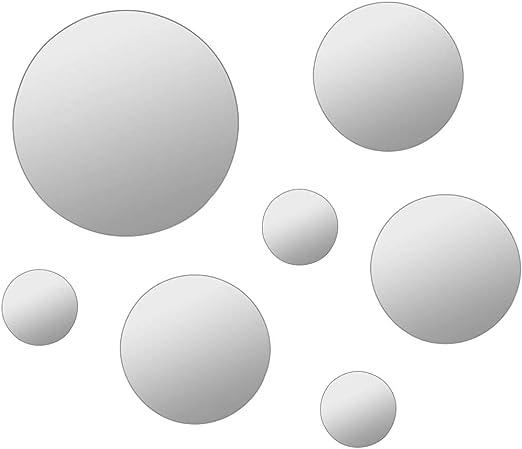 Goliraya Set 7 pz Specchi da Parete a Muro Rotondo in Vetro Circolare,Specchio a Muro Rotondo Vetro,Specchio per Bagno,Specchio Camera da Letto,Specchio da Parete Rotondo,Specchi Decorativi