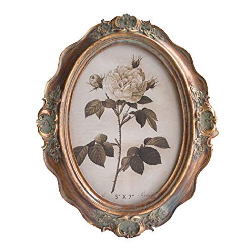 SIKOO Vintage Picture Frame 5x7 Oval Tabletop and Wall Hanging Photo Frame with Glass Front for Home Decoration (Bronze ()