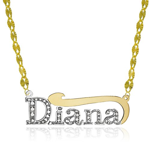 14K Two Tone Gold Personalized Name Necklace - Style 5