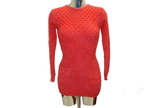 Señoras de las mujeres con los bolsillos del patrón de cuello redondo mullido Furia superior del puente del suéter de mangas largas del mini vestido Carol