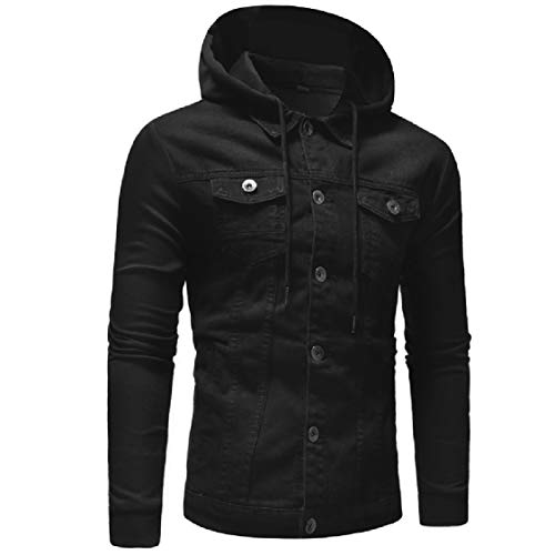 Jean Mens Pockets Hooded Outdoor Jacket Cardigan Fit Casual Black Trim Energy 1q867