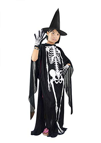 JIAHG Halloween Skeleton Ghost Cloak Gloves Witch Hat Kids Adults Hooded Cloak Role Play Skull Sets Parent-Child Halloween Costumes Cosplay Outfit Fancy Party Cosplay Robe Dress-Up Party Props Gift