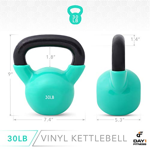 Day 1 Fitness Kettlebell Weights Vinyl Coated Iron 30 Pounds - Coated for Floor and Equipment Protection, Noise Reduction - Free Weights for Ballistic, Core, Weight Training by Day 1 Fitness (Image #2)