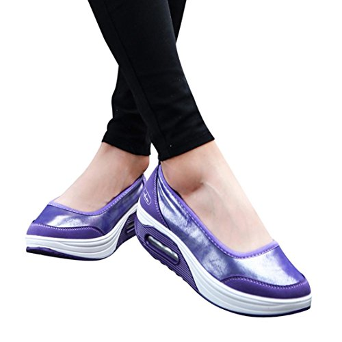 vermers Clearance Sale Women Platform Shoes - Fashion Air Cushion Shake Slip-On Sport Sneakers(US:6.5, Purple) by vermers