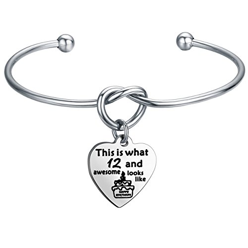 FEELMEM Birthday Gifts for Her Birthday Bracelets,12th Sweet 16 18th 21st,Love Knot with Heart Charm Bangle Bracelet,Perfect Birthday Gift Ideas (12th (Gift Ideas For 12 Year Old Girls)