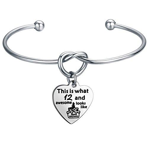 FEELMEM Birthday Gifts for Her Birthday Bracelets,12th Sweet 16 18th 21st,Love Knot with Heart Charm Bangle Bracelet, Ideas (12th -