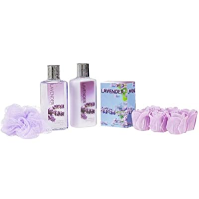 Bath, Body, and Spa Gift Set for Women, in Lavender Fragrance, includes a Body Lotion, Shower Gel, Bath Salts, and Lavender Rose Soaps, with Shea Butter and Vitamin E