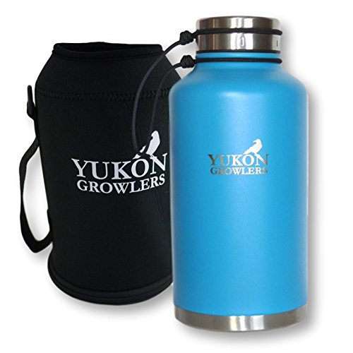 (Yukon Growlers Insulated Beer Growler - Keep Your Beer Cold and Carbonated for 24 Hours - Stainless Steel Vacuum Water Bottle with Carrying Case Also Keeps Coffee Hot - Improved Lid - 64 oz)