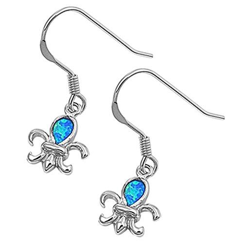 Fleur De Lis Hanging Earrings Blue Simulated Opal .925 Sterling Silver