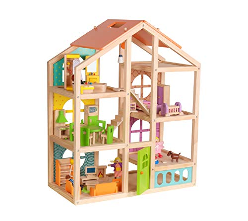 Abigail Dollhouse with 40 pcs furniture set, 4 Dolls, and Pet dog - Wooden Doll house