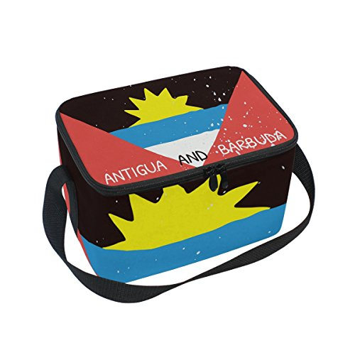 Distressed Antigua And Barbuda Flag Insulated Lunch Box Cooler Bag Reusable Tote Picnic Bags for Travel, Camping, Hiking and RVing