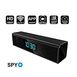 WiFi Hidden Spy Camera Alarm Clock Style HD 1080P Wireless Security Camera with Motion Detection,Night Vision,Realtime Video Recorder, Covert Nanny Camera for Home Surveillance