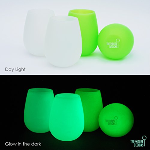 Silicone Wine Glasses - 12 oz Cups THAT GLOW -Set of 4- Stemless Drinkware Non-toxic, BPA Free, Premium Silicone, Unbreakable, Stain-Resistant, and Versatile Drinkware (4, Frost and Green)